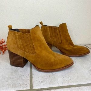 Isola brown leather stacked heeled ankle boots